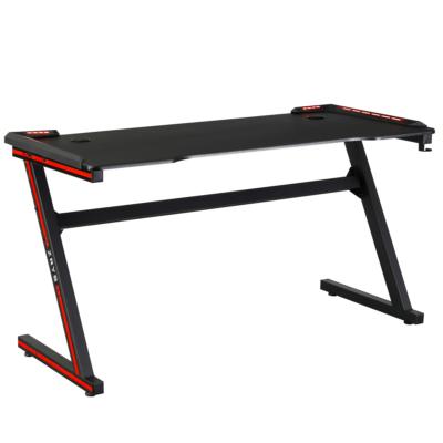 Gamer asztal/számítógépasztal, RGB LED világítással, fekete/piros, MACKENZIE 140cm