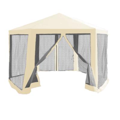 Kerti pavilon sátor, 3,9x2,5x3,9m, bézs/fekete, RINGE TYP 2+6 oldal