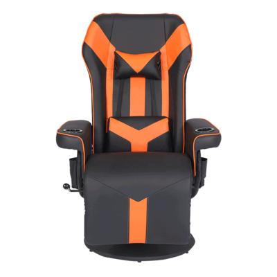 Gamer szék lábtartóval, fekete/narancssárga, ELRAN