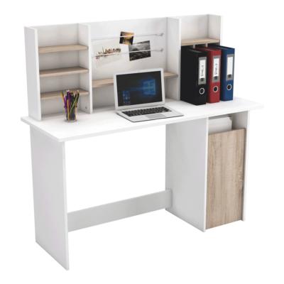 Számítógépasztal, brushed tölgy/fehér, AMBRE