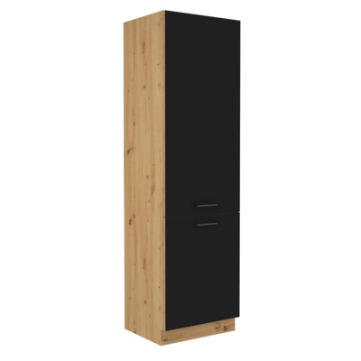 Szekrény beépített hűtőre, matt fekete/artisan tölgy, MONRO 60 LO-210 2F