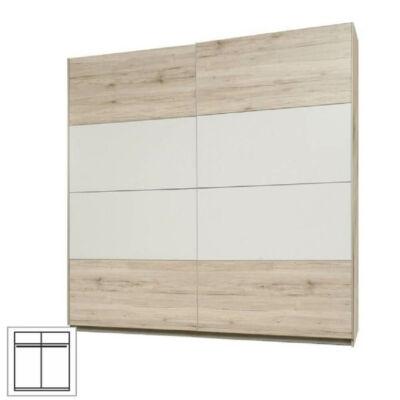 Akasztós szekrény tolóajtós, tölgyfa homok / fehér, VALERIA