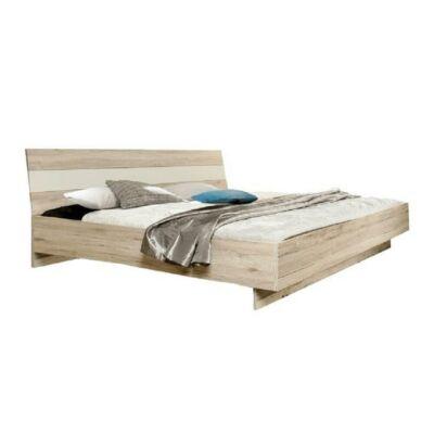 Ágy 180x200, tölgyfa homok / fehér, VALERIA