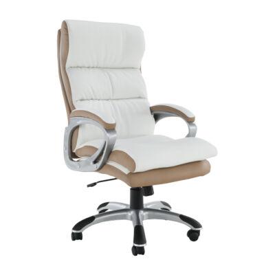 Irodai szék, fehér/barna textilbőr, KOLO CH137020