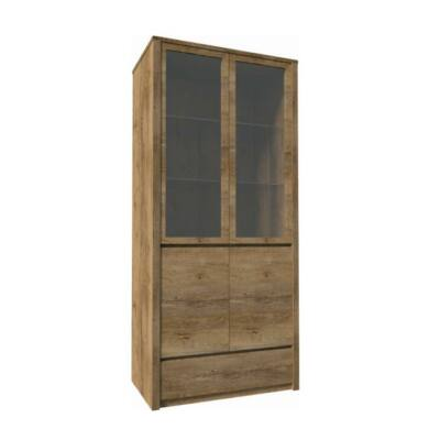 Vitrín szekrény 1- fióko és 2 osztot ajtóval  teljessen  üvegezett, tölgyfa lefkas, MONTANA W2D
