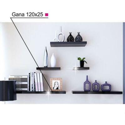 Polc, fekete fényes, 120x25, GANA FY 11044-1