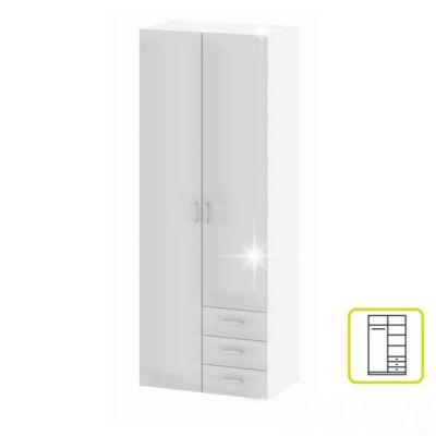 szekrény, 2 -ajtós, fehér extra magasfényű, GWEN 70425