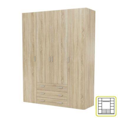 szekrény, 4 - ajtós, tölgy sonoma, GWEN 70429