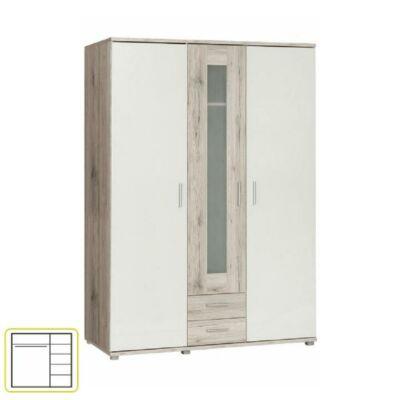 Akasztós szekrény polcokkal, tölgy homokos/fehér, VALERIA 93