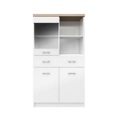 Vitrines szekrény 2D1W1S/80, fehér/tölgy sonoma, TOPTY Typ 02