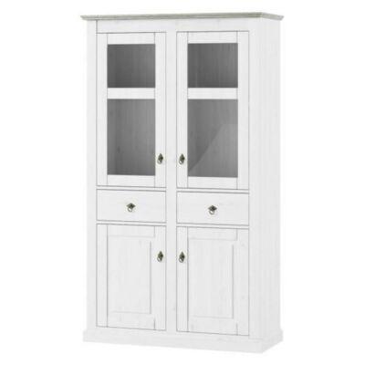 Vitrines szekrény, fehér, LIONA LM 12