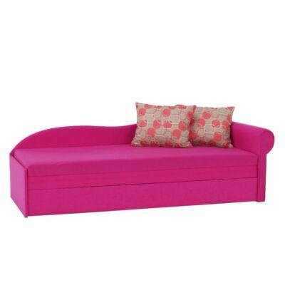 Kanapé ágyfunkcióval, rózsaszín/mintás párnákkal, jobb oldali kivitel, AGA D