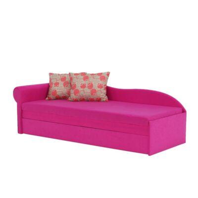 Egyszemélyes heverő ágyfunkcióval, rózsaszín/minta, balos, AGA D