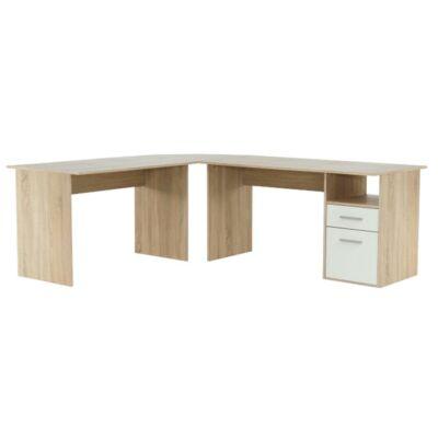 Sarok számítógépasztal, sonoma tölgyfa/fehér, MAURUS NEW MA11