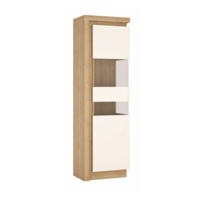 Vitrines szekrény LYOV03P, tölgy riviera/fehér extra magasfényű, LEONARDO