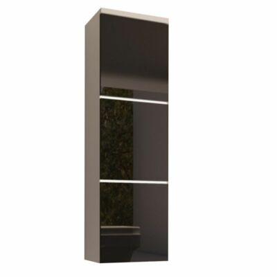 szekrény, fehér/fekete extra magas  HG fény, MASON BL11