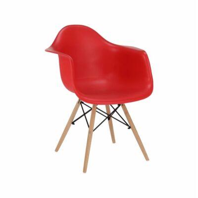 Fotel, piros/bükk, DAMEN NEW