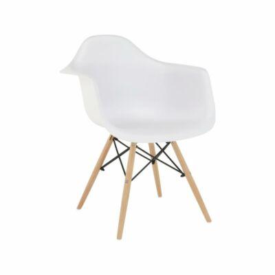 Fotel, fehér/bükk, DAMEN NEW