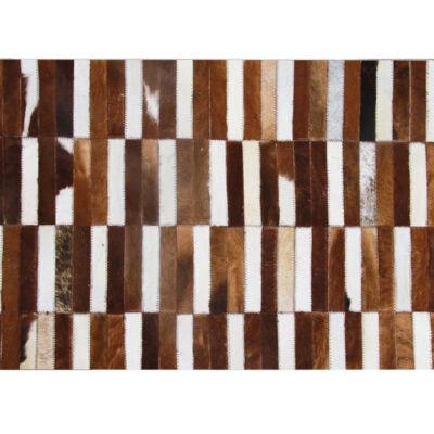Luxus bőrszőnyeg, barna /fehér, patchwork, 141x200, bőr TIP 5