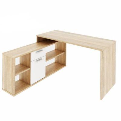 Sarok íróasztal, sonoma tölgy/fehér, NOE NEW