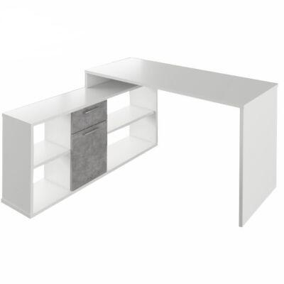 Sarok íróasztal, fehér/beton, NOE NEW