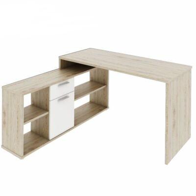 PC asztal,  tölgy san remo/fehér, NOE NEW