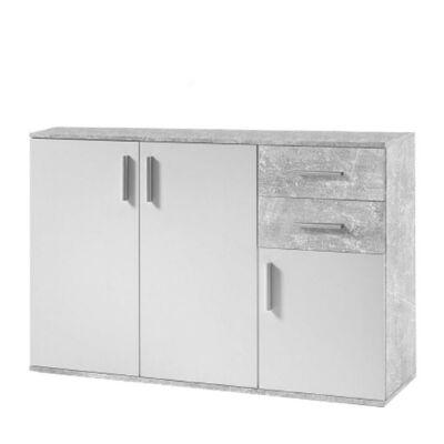 Komód, fehér/beton, POPPY 2