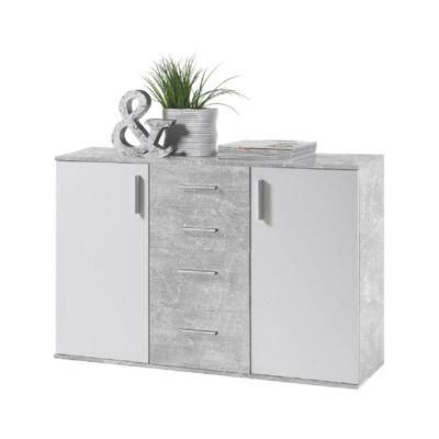 Komód, fehér/beton, POPPY 5