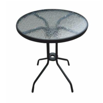 Étkezőasztal, fekete acél/edzett üveg, BORGEN TYP 1