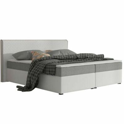 Kényelmes franciaágy, szürke szövet/fehér textilbőr, 180x200, NOVARA MEGAKOMFORT