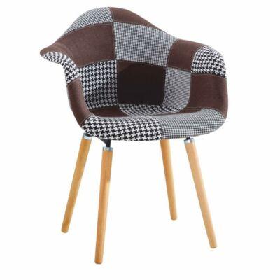 Fotel, barna/fekete/fehér/bükk, KADIR tip 2