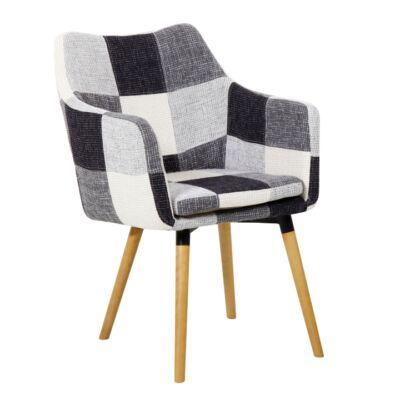Fotel, fehér/fekete minta patchwork/bükk, LANDOR