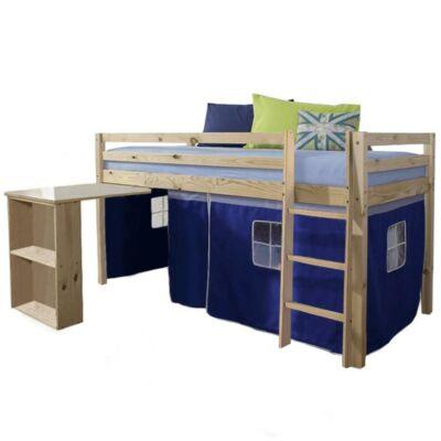 Ágy , PC asztallal, fenyőfa/kék, 90x200, ALZENA