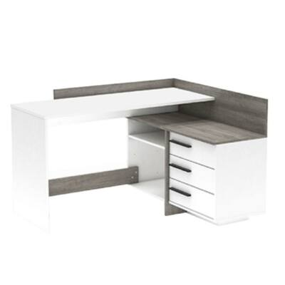 Univerzális  számítógépasztal, sarok, fehér/ trufla tölgyfa prata, TALE NEW