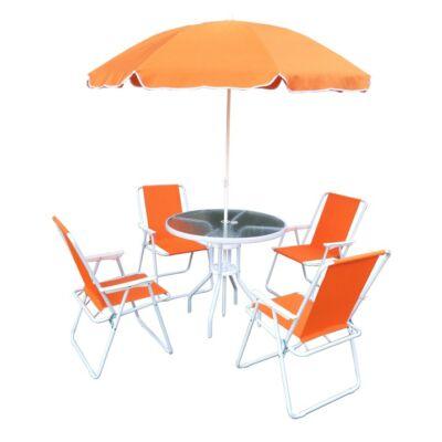 Kerti bútor szett, narancssárga/fehér, ODELO