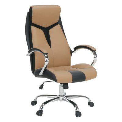 Irodai szék, fekete/barna/króm, TANER NEW
