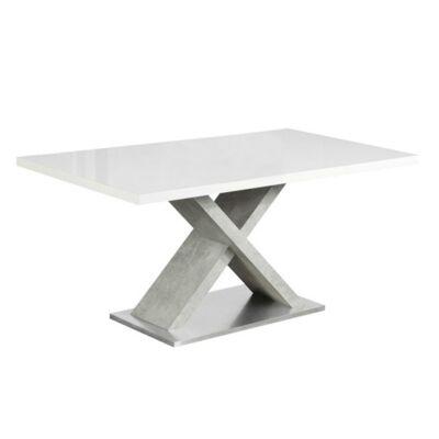Étkezőasztal, fehér magasfényű HG/beton, FARNEL