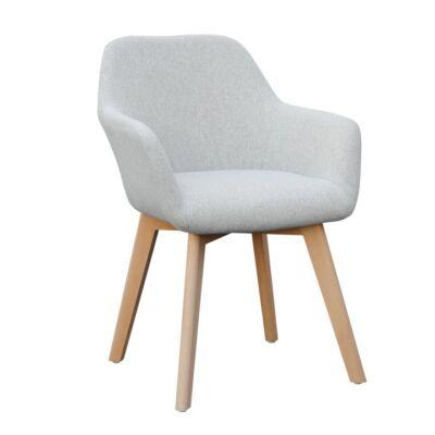 Dizájnos fotel, világosszürke/bükk, CLORIN NEW