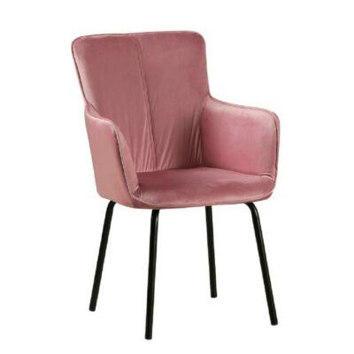 Dizájnos fotel, rózsaszín bársony/fekete, VETAR