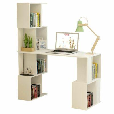 PC asztal könyvespolccal, fehér, FLOKI NEW