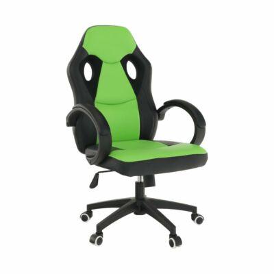 Irodai szék, textilbőr fekete/zöld, LESTER NEW