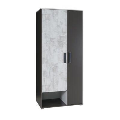 Akasztós szekrény polcokkal, fehér/szürke grafit/enigma, MATEL