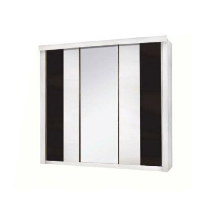 3-ajtós szekrény, fehér/fekete, RUBLIN