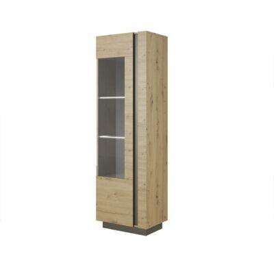 Magas vitrines szekrény 60, tölgy artisan/szürke grafit, CITY