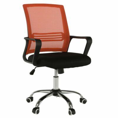 Irodai szék, hálószövet narancs/szövet fekete, APOLO