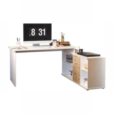 Íróasztal, fehér/wotan tölgy, DALTON 2 NEW VE 02