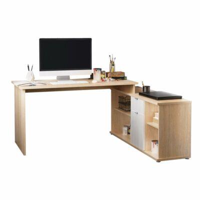 Íróasztal, sonona tölgy/fehér, DALTON 2 NEW VE 02
