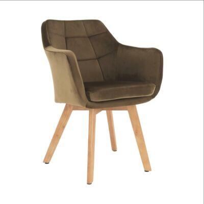 fotel, szövet velvet arany-barna/tölgy, ZERON