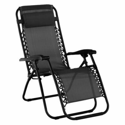állítható kerti fotel, fekete, GERALD