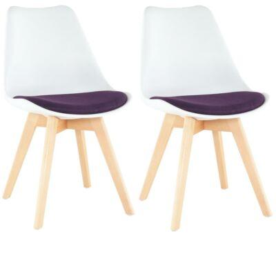 Készlet 2 db-os, szék, fehér/lila, DAMARA